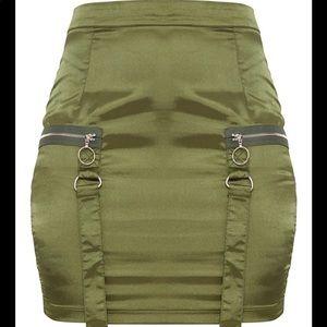 Olive satin mini skirt (Pretty Little Thing)